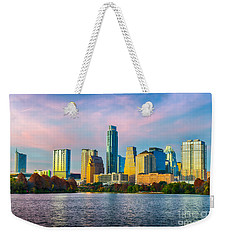 Austin Skyline At Dusk Weekender Tote Bag by Tod and Cynthia Grubbs