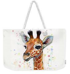 Baby Giraffe Watercolor  Weekender Tote Bag by Olga Shvartsur