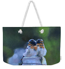 Baby Swallows On Post Weekender Tote Bag by Donna Tuten