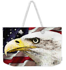 Bald Eagle Art - Old Glory - American Flag Weekender Tote Bag by Sharon Cummings