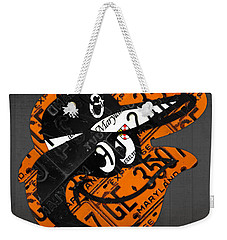 Baltimore Orioles Vintage Baseball Logo License Plate Art Weekender Tote Bag by Design Turnpike