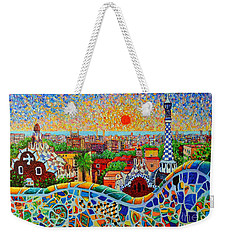 Barcelona View At Sunrise - Park Guell  Of Gaudi Weekender Tote Bag by Ana Maria Edulescu