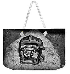 Baseball Catchers Mask Vintage In Black And White Weekender Tote Bag by Paul Ward