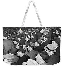 Baseball Fans At Yankee Stadium For The Third Game Of The World Weekender Tote Bag by Underwood Archives