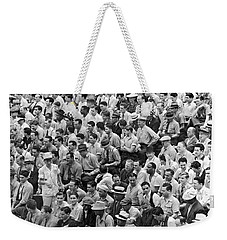 Baseball Fans In The Bleachers At Yankee Stadium. Weekender Tote Bag by Underwood Archives