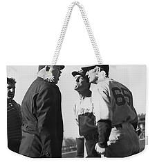 Baseball Umpire Dispute Weekender Tote Bag by Underwood Archives