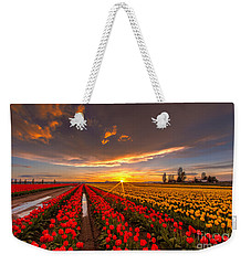 Beautiful Tulip Field Sunset Weekender Tote Bag by Mike Reid