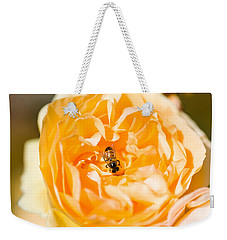 Bee Pollinating A Yellow Rose, Beverly Weekender Tote Bag by Panoramic Images