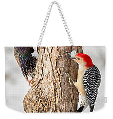 Bird Feeder Stand Off Weekender Tote Bag by Bill Wakeley