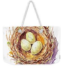Bird Nest A Happy Trio Weekender Tote Bag by Irina Sztukowski