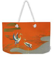Birds At Sunset On The Lake Weekender Tote Bag by Kamisaka Sekka