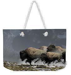 Bison Stampede Weekender Tote Bag by Daniel Eskridge