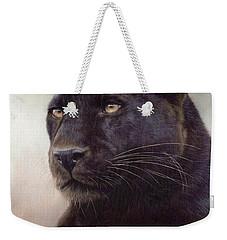 Black Leopard Painting Weekender Tote Bag by Rachel Stribbling