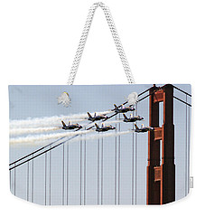 Blue Angels And The Bridge Weekender Tote Bag by Bill Gallagher