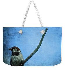 Sparrow On Blue Weekender Tote Bag by Dan Sproul