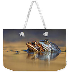 Blue Love ... Mating Moor Frogs  Weekender Tote Bag by Roeselien Raimond