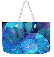 Blue Nautilus Shell By Sharon Cummings Weekender Tote Bag by Sharon Cummings