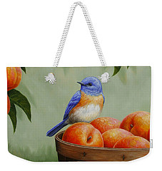 Bluebird And Peaches Greeting Card 3 Weekender Tote Bag by Crista Forest