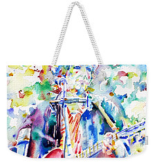 Bob Dylan Playing The Guitar - Watercolor Portrait.1 Weekender Tote Bag by Fabrizio Cassetta
