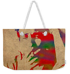 Bob Dylan Watercolor Portrait On Worn Distressed Canvas Weekender Tote Bag by Design Turnpike