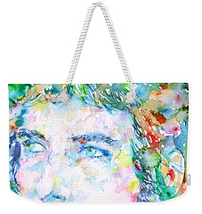 Bob Dylan Watercolor Portrait.3 Weekender Tote Bag by Fabrizio Cassetta