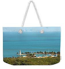 Boca Chita Lighthouse And Miami Skyline Weekender Tote Bag by Georgia Fowler