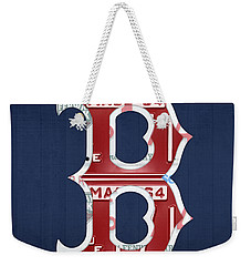 Boston Red Sox Logo Letter B Baseball Team Vintage License Plate Art Weekender Tote Bag by Design Turnpike