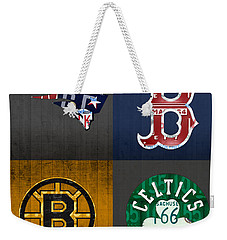 Boston Sports Fan Recycled Vintage Massachusetts License Plate Art Patriots Red Sox Bruins Celtics Weekender Tote Bag by Design Turnpike