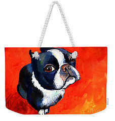 Boston Terrier Dog Painting Prints Weekender Tote Bag by Svetlana Novikova