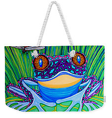 Bright Eyed Frog Weekender Tote Bag by Nick Gustafson