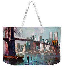 Brooklyn Bridge And Twin Towers Weekender Tote Bag by Ylli Haruni