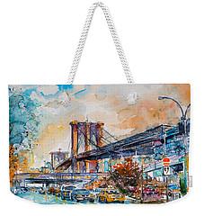 Brooklyn Bridge Weekender Tote Bag by Kovacs Anna Brigitta