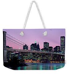 Brooklyn Bridge New York Ny Usa Weekender Tote Bag by Panoramic Images