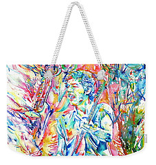 Bruce Springsteen And Clarence Clemons Watercolor Portrait Weekender Tote Bag by Fabrizio Cassetta