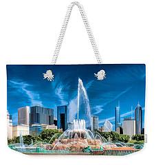 Buckingham Fountain Skyline Panorama Weekender Tote Bag by Christopher Arndt