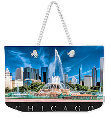Buckingham Fountain Skyline Panorama Poster Weekender Tote Bag by Christopher Arndt