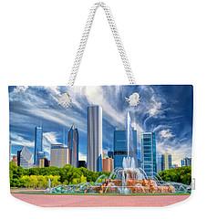 Buckingham Fountain Skyscrapers Weekender Tote Bag by Christopher Arndt