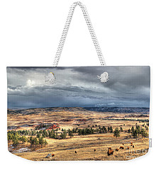 Weekender Tote Bag featuring the photograph Buffalo Before The Storm by Bill Gabbert