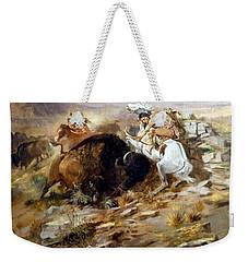 Buffalo Hunt Weekender Tote Bag by Charles Russell