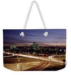 Buildings In A City Lit Up At Dusk, 7th Weekender Tote Bag by Panoramic Images