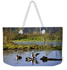 Canada Goose Dancing On Lake Weekender Tote Bag by Christina Rollo