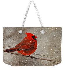 Cardinal In Snow Weekender Tote Bag by Lois Bryan