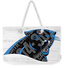 Carolina Panthers Football Team Retro Logo Recycled North Carolina License Plate Art Weekender Tote Bag by Design Turnpike