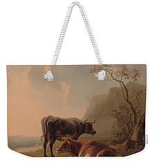 Cattle In An Italianate Landscape Weekender Tote Bag by Jacob van Strij