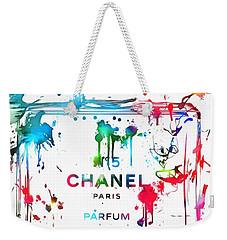Chanel Number Five Paint Splatter Weekender Tote Bag by Dan Sproul