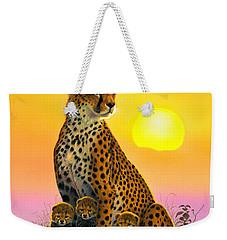 Cheetah And Cubs Weekender Tote Bag by MGL Studio - Chris Hiett
