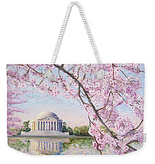 Jefferson Memorial Cherry Blossoms Weekender Tote Bag by Patty Kay Hall