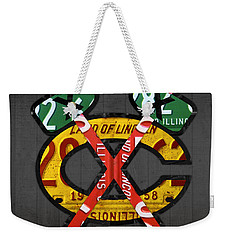 Chicago Blackhawks Hockey Team Retro Logo Vintage Recycled Illinois License Plate Art Weekender Tote Bag by Design Turnpike
