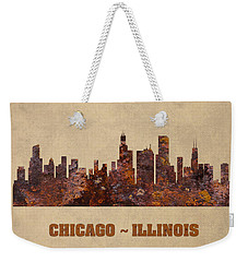 Chicago City Skyline Rusty Metal Shape On Canvas Weekender Tote Bag by Design Turnpike