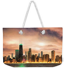 Chicago Gotham City Skyline Panorama Weekender Tote Bag by Christopher Arndt
